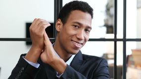 Clapping Black Businessman, Portrait of Applauding Man stock video