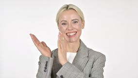 Clapping Businesswoman Applauding on White Background. The Clapping Businesswoman Applauding on White Background stock footage