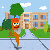 Clapping carrot in front of a school Royalty Free Stock Image