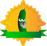 Clapping cucumber or pickle label with blank ribbon Stock Image