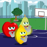 Clapping fruits on a basketball field Royalty Free Stock Images