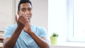 Clapping Young Black Man, Portrait of Applauding Man stock footage