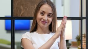 Clapping Young Girl at Work, Portrait of Applauding Girl stock video