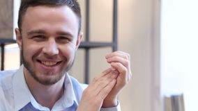 Clapping Young Man, Portrait of Applauding Man stock footage