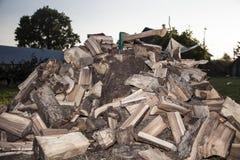 Claquement en bois de clairière et de hache dans le tronc Images stock