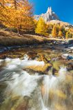 Clarée valley during Autumn in France stock images