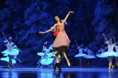 Clara en de prins kwamen aan de sneeuw de land-eerste handeling van het vierde Land van de gebiedssneeuw - de Balletnotekraker royalty-vrije stock afbeelding