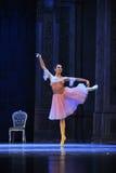 Clara está vestindo uma quebra-nozes cor-de-rosa do bailado da saia- fotos de stock royalty free