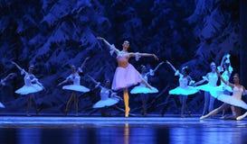 Clara kwam aan het koninkrijk van de ijs-eerste handeling van het vierde Land van de gebiedssneeuw - de Balletnotekraker stock afbeeldingen