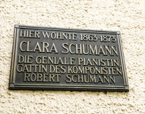 Clara Schumann has lived here memorial plaque Royalty Free Stock Image