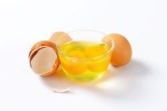 Claras de huevo y yemas de huevo en bol de vidrio Imagen de archivo