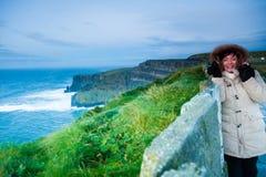 clare峭壁co爱尔兰moher日落 克莱尔爱尔兰欧洲 库存照片