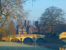 Clare College on River Cam, Cambridge. In winter morning Stock Photography