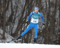 Clare Egan of the United States competes in biathlon Women`s 15km Individual at the 2018 Winter Olympics. PYEONGCHANG, SOUTH KOREA - FEBRUARY 15, 2018: Clare Stock Image