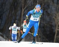 Clare Egan of the United States competes in biathlon Women`s 15km Individual at the 2018 Winter Olympics. PYEONGCHANG, SOUTH KOREA - FEBRUARY 15, 2018: Clare Royalty Free Stock Image
