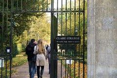 Clare szkoła wyższa, Cambridge, Tylni brama Obraz Stock