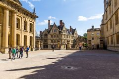 Clarendon Building in Oxford in a beautiful summer day, Oxfordshire, England, United Kingdom. Oxford, UK - June 08, 2015: Clarendon Building in Oxford in a royalty free stock photo