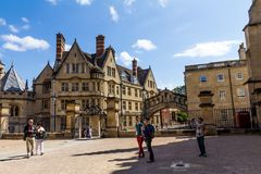 Clarendon Building in Oxford in a beautiful summer day, Oxfordshire, England, United Kingdom. Oxford, UK - June 08, 2015: Clarendon Building in Oxford in a stock image
