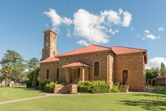 Dutch Reformed Church in Clarens in the Free State Province. CLARENS, SOUTH AFRICA - MARCH 12, 2018: The Dutch Reformed Church in Clarens in the Free State Royalty Free Stock Image