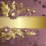 Claret background  with  flowers. Background with   abstract claret flowers and  gold leaves Royalty Free Stock Images