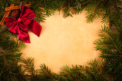 Claret bow on old paper, Christmas decoration Stock Image