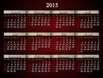 Claret calendar for 2015 year Stock Photos