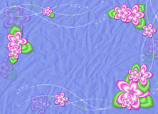 Claret card with flowers on the blue background. Claret card with pink flowers on the blue background Stock Image