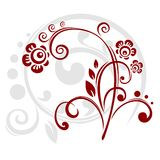 Claret decor. Claret vegetative ornament with grey curls on a white background Royalty Free Stock Photos