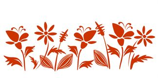 Claret flowers. The claret stylized flower silhouettes on a white background Stock Image