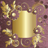 Claret frame  with  flowers. Frame with   abstract claret flowers and  gold leaves Royalty Free Stock Photo