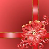 Claret Gift with a Pink Bow Royalty Free Stock Photos