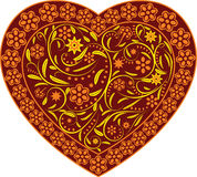 Claret heart with ornament. Valentine day heart ,claret heart with a summer ornament , lovely heart Royalty Free Stock Photography
