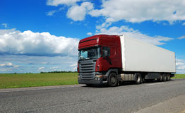 Claret lorry with white trailer Stock Photography