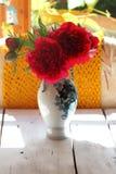 Claret peonies in a vase Stock Photo