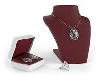 Claret red jewelry set Stock Photos