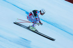CLAREY Johan (FRA). VAL GARDENA, ITALY - DECEMBER 21:  CLAREY Johan (FRA) races down the Saslong competing in the Audi FIS Alpine Skiing World Cup MEN'S DOWNHILL Royalty Free Stock Images