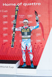 CLAREY Johan (FRA). VAL GARDENA, ITALY 21 December 2013: CLAREY Johan (FRA) takes 3rd place during the Audi FIS Alpine Ski World Cup Men's  DOWNHILL Royalty Free Stock Photo