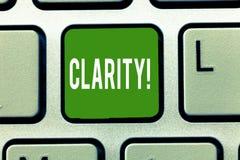 Claridade do texto da escrita Conceito que significa a qualidade de ser fácil de ver ou para ouvir a agudeza do som da imagem fotos de stock royalty free