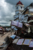 Clarin church destroyed, calendars in wreckage Royalty Free Stock Images