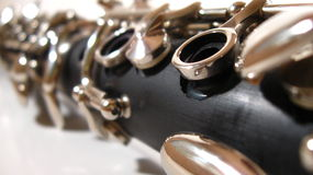 Clarinet. A closeup of a clarinet in isolation Royalty Free Stock Photos