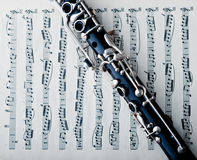 Clarinet. A clarinet on a sheet of music royalty free stock image