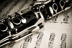 Clarinet. A clarinet on a sheet of music stock photography