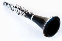 Clarinet. Perspective of a black classic music clarinet with silver environment royalty free stock photos
