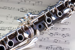 Clarinet. Wooden wind musical instrument clarinet. Close-up royalty free stock photos