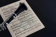 Clarinet Bell and Sheet Music Stock Image