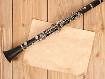 Clarinet and blank paper Royalty Free Stock Photo