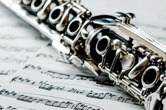 Clarinet. Details of a clarinet with the system Oehler royalty free stock photos