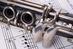 Clarinet e musica fotografia stock