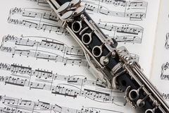Clarinet on music Stock Image