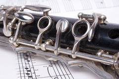 Clarinet and music Stock Photos